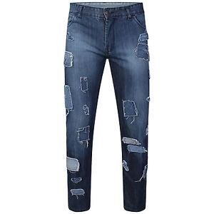 DeMina NEW MENS STRAIGHT LEG Designer Patchwork Distressed Jean
