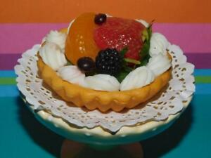 Faux Food Stage Prop Fruit Tart on a Dessert Stand Play Food REALISTIC MTC Lot B