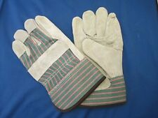 Leather Work Gloves with Re-enforced Fingers Heavy Duty Garage Drivers Workers