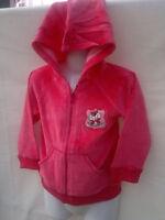 ~BNWT Minipie Brand Soft Fuzzy Feel Hot Pink Girls Sz 1 Hoodie Jacket~