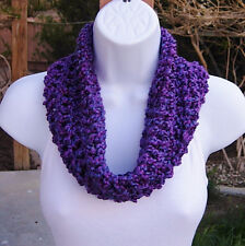 SUMMER COWL SCARF Bright & Dark Purple Blue Small Short Crochet Knit Neck Warmer