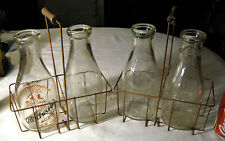 2 ANTIQUE PRIMITIVE COUNTRY DAIRY COW FARM MILK BOTTLE & WOOD WIRE RACK CARRIERS