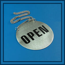 OPEN / CLOSED  SIGN Plate for Business Shop Bar Restaurant diam 13 cm stainless