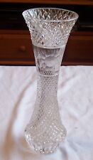 """VINTAGE LEAD CRYSTAL CLEAR VASE WITH ETCHED RELIEF HEIGHT 11"""" DIAMETER 3.75"""""""