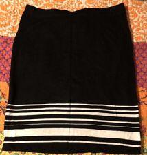 Max Studio Black W/ White Stripes Skirt Sz S