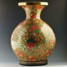 Oriental Flowers Hand Painted Wooden Vase 12 Inches