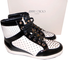 55465da08149 Jimmy Choo Tokyo  High Top Spiked Studded SNEAKERS Black Flat Shoe 37 - 7