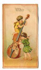 Victorian Trade Card UNION PACIFIC TEA CO Providence RI children w giant violin
