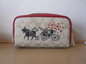 COACH Lunar New Year Boxy Cosmetic Case In Sig Canvas Ox & Carriage NWT$125