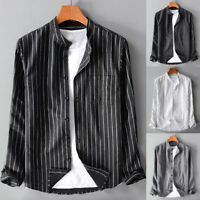 Men's Long Sleeve Cotton Striped Retro Loose Casual Shirt Slim Formal Dress Tops