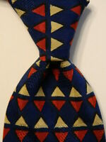 ERMENEGILDO ZEGNA Men's 100% Silk Necktie ITALY Luxury TRIANGLES Blue/Red EUC