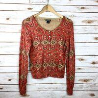 Womens Red Brown Lucky Brand Cardigan Size Medium Fall Autumn