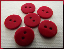 LOT 6 BOUTONS  rouge 15 mm  2 trous 1,5 cm red button mercerie couture sewing