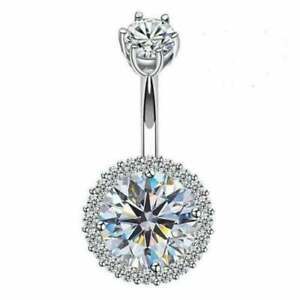 Diamond 3.46Ct Navel Belly Button Ring Piercing Body Jewelry 14K White Gold Over