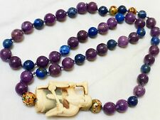Vintage Chinese Natural Sugilite Stone and Lapis Beads Necklace, Signed