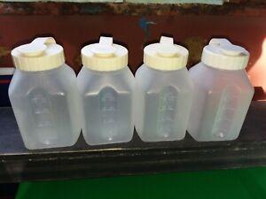 Vtg SET Lot 4 RUBBERMAID Almond Pint SIPPIN' SAVER Drink Bottle FLIP LID Mixer