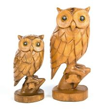 More details for hand carved fair trade rustic wooden owl on branch - ow-296
