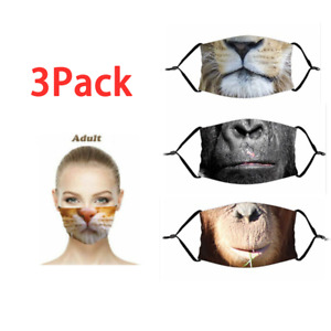 Unisex Funny 3D Printing Face Mask Lion Tiger Cat Animal Adjustable Reusable OF3