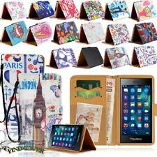 For BlackBerry Smartphones - Flip Leather Wallet Stand Cover Phone Case + Strap