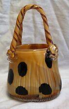 "9"" Murano Art Glass Yellow, Brown & Black Polka Dot Bag Vase Applied Handle"
