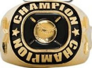 FANTASY BASEBALL CHAMPION TROPHY RING 24K BATS BALL STARS GOLD SIZE 6 7 8 NEW