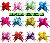 50 LARGE Ribbon Bows assorted colours easy pull flowers ribbons party decoration