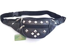 100% Black Leather Bum Bag // Silver Square Studs // Festival Fashion // Travel