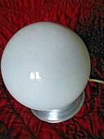 ancien plafonnier-lustre boule opaline art déco électrique-suspension-chromé