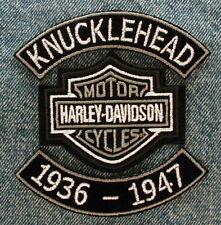 "MOTORCYCLE PATCH SET 4"" KNUCKLEHEAD ROCKERS DATES HARLEY DAVIDSON BAR & SHIELD"