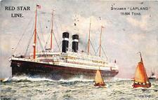 RED STAR LINE STEAMER LAPLAND SHIP DIXON ARTIST SIGNED POSTCARD (c. 1920s)