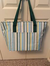 Generic Brand Insulated Tote NWOT - Green/Blue/White stripe
