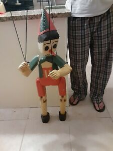 Vintage Handmade Wood Pinnochio Marionette String Puppet Unique (42 inches tall)