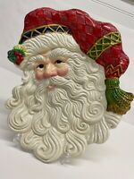 Fitz and Floyd Jolly Ole St Nick Canape Cookie Christmas plate Wall Hanging
