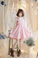 Girl's Lolita Pink Check Dress Lovely Summer Suspender Skirt Strawberry New