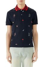 100% AUTH NEW MEN GUCCI EMBROIDERED PIQUE BLUE POLO SHORT SLEEVE SHIRT US XL