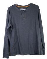 Mens L Gray Eddie Bauer Long Sleeve Waffle Weave Henley Shirt