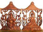 Set of 2 Carved Wood Wooden Wall Hangings Art Buddha Guanyin Ganesha Indonesia