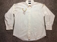 Vtg 50s Abercrombie & Fitch Mens Oxford Button Down Shirt Embroidered 17.5 x 34
