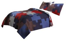 Puzzle Pattern Full Queen Quilt Set