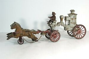 ca1900 CAST IRON HORSE DRAWN FIRE ENGINE PUMPER By HUBLEY LARGE SIZE 19.5 INCH