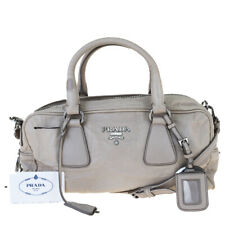 Authentic PRADA MILANO 2Way Shoulder Hand Bag Leather Ivory Italy 04EW846