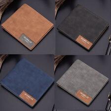 Vintage Men Leather Canvas Wallet Billfold Bifold Purse Clutch Card Money Holder
