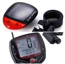 Bike Bicycle Waterproof LCD Odometer Speedometer Stopwatch Black Solar Light