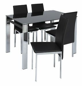 Home Fitz Black Glass Dining Table & 4 Black Chairs