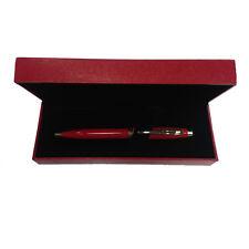 Stylo-plume rouge FERRARI à bille avec boîte à cadeau en eco-cuir rouge