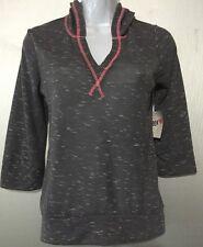 Derek Heart Girls New Small Hooded 3/4 Sleeve Gray/Pink Light Sheer  Top Shirt