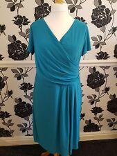 Tiana B, Mock Wrap Plunge Dress, QVC, Size 20, Turquoise, BNWT
