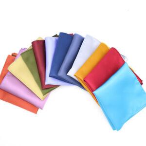Lot 10 Pieces Men's Hanky Silk Pocket Squares Solid Color Design Handkerchief