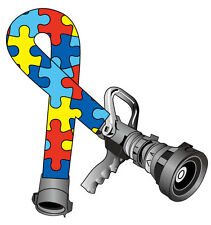 FIREFIGHTER HELMET DECALS - Autism Awareness Puzzel Piece Hose Ribbon reflective