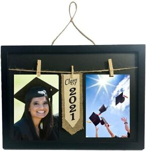 Class of 2021 Frame with Clothespin Clips for Two 4 x 6 inch Collage Photo Black